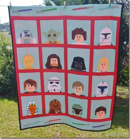 LEGO Paper Pieced Star Wars quilt outside