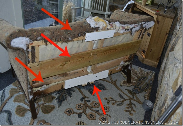 DIY couch with pine pieces secured back together