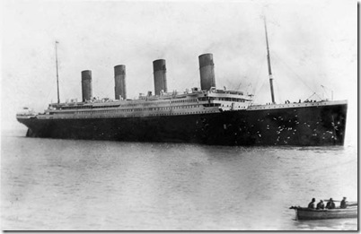 Titanic at anchor off Queenstown(Cobh)