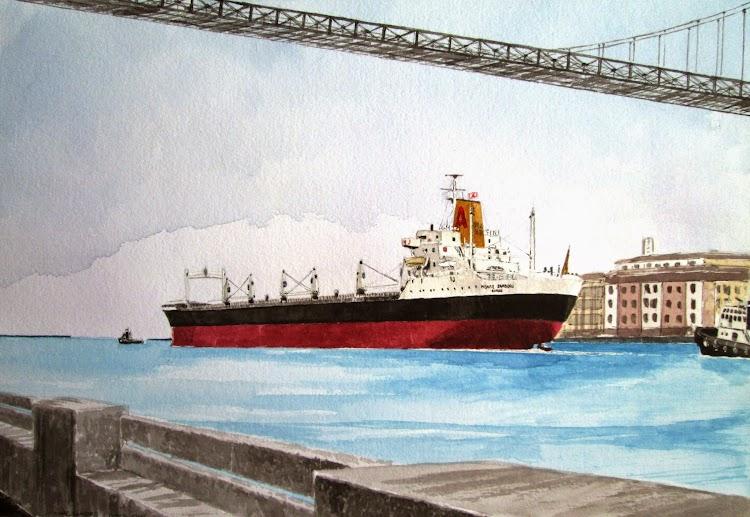 El MONTE ZAMBURU saliendo de Bilbao en su viaje inaugural. 27 de diciembre de 1969. Acuarela de Roberto Hernandez. El Ilustrador de Barcos. Propiedad del autor.JPG