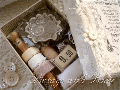 Altered box filled with vintage finds