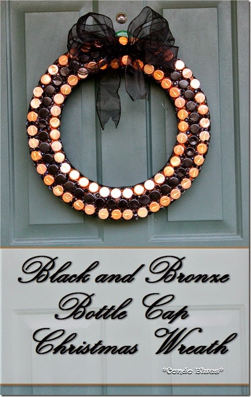 bottle cap Christmas wreath