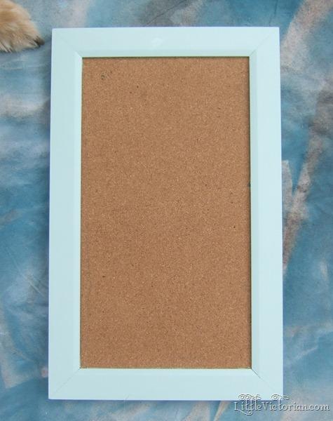 Mint green cork board before