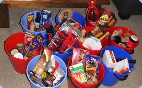 The goodies for the Xmas Hamper Raffle - building nicely! Photo courtesy of Dennis Lyons.