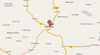 Carte de Kamina au Katanga
