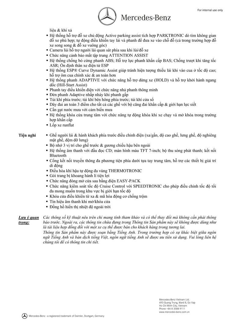 Thông số kỹ thuật xe Mercedes Benz GLA250 b