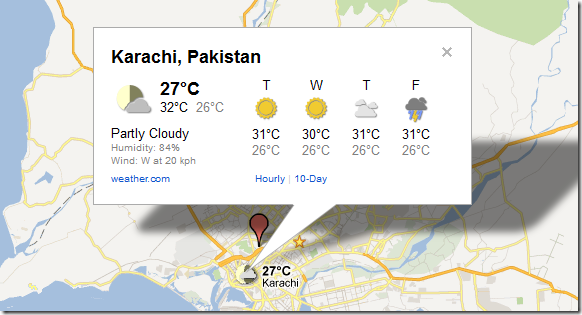 google maps weather