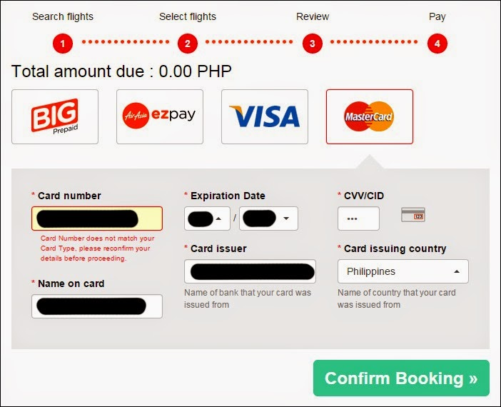 Credit Card Error for an AirAsia Asean Pass