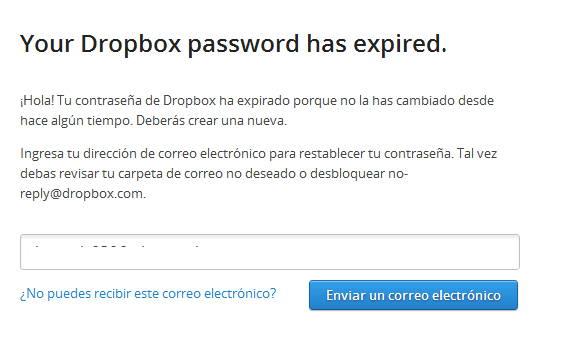 Dropbox porque la contraseña expiro