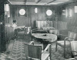 BREÑAS. Vista del Salon Fumador. THE MOTOR SHIP. Abril de 1933