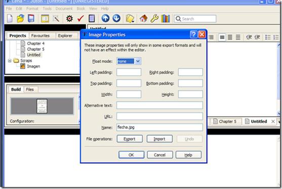 Pantalla de edición de las imágenes de Jutoh, que permite poner texto alternativo a las mismas