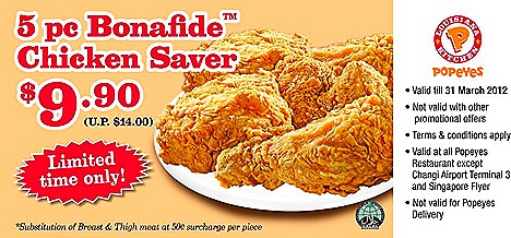 Popeyes chicken offer Bonafide 5 piece locations Orchard Xchange, The Cathy, Square 2, Ang Mo Kio Junliee Complex, Bedok Point, Century Square, Downtown East Pungol East