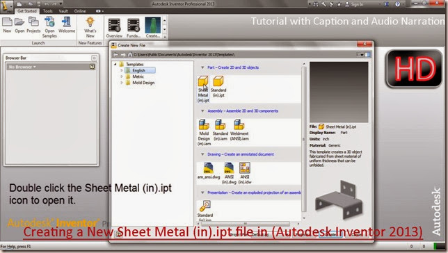 3d Solid Modelling Videos Creating A New Sheet Metal In