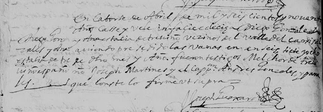 Diego Gonzalez and Anastacia de Trevino - Mexico Marriages 1570 - 1950 - Monterrey pg 42 - mod.jpg