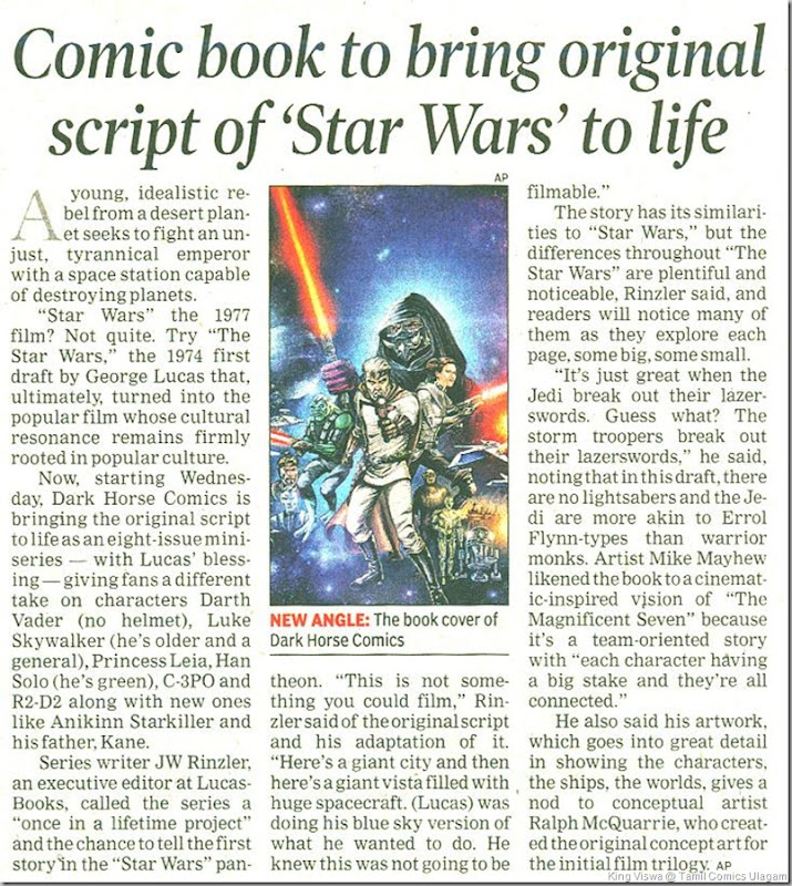 The Times of India Chennai Editon Dated 5th Sept 2013 Page No 15 Star Wars Comics