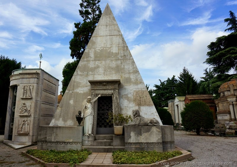 Pyramid tomb at Monumentale Cemetery, Milan, Italy