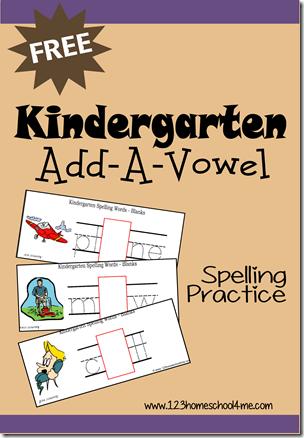 Kindergarten Add a Vowel Spelling Practice