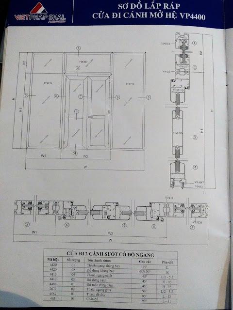 Kết cấu cửa sổ mở quay mở hất hệ 4400