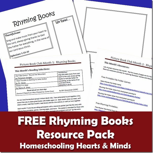 Free Rhyming Books Resources Pack for primary grades http://homeschoolheartandmind.blogspot.com