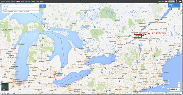 Googlemap showing Carl Gillberg's Port of Arrival in Montreal Canada
