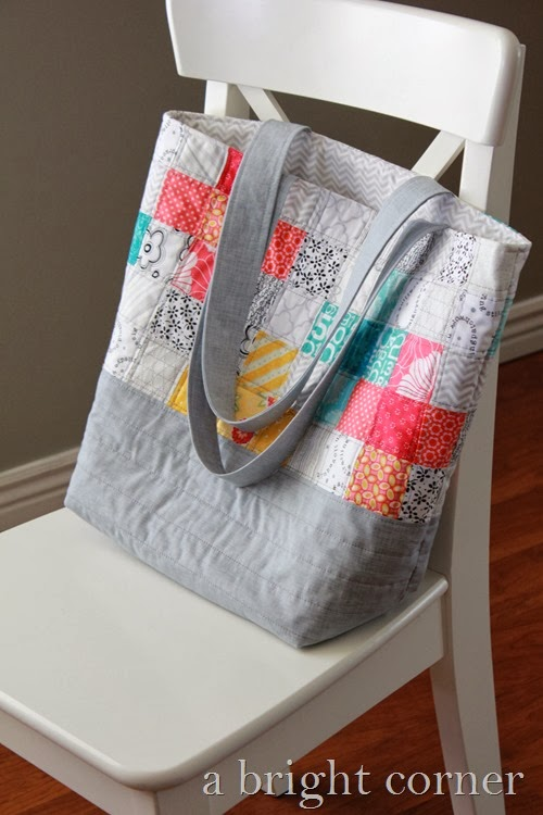 Scrappy quilted tote bag from A Bright Corner