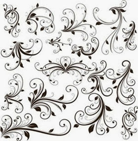 Swirl Floral Decorative Element Vector Graphic