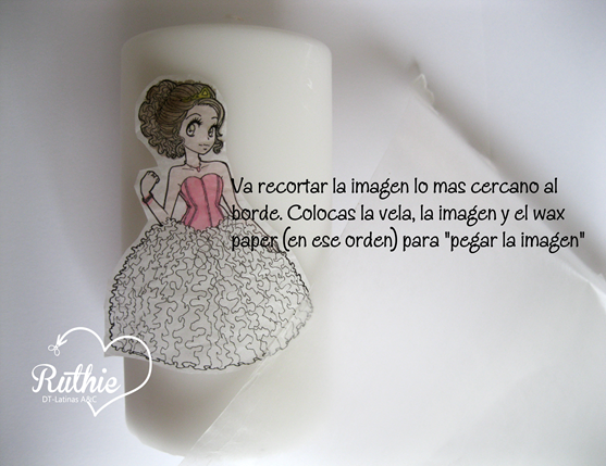 Tutorial usando una estampa digital en una vela - Digi stamp on a candle - Latinas Arts and Crafts - Ruthie Lopez DT 5