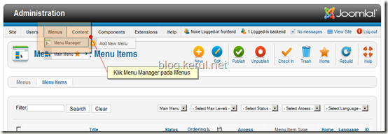 menu Joomla! 1.7 - edit Menu Utama