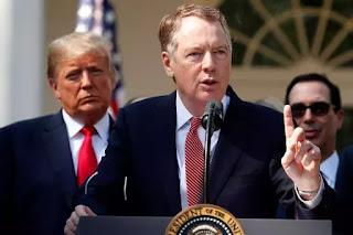 Robert Lighthizer họp báo tại Tòa Bạch Ốc sau khi thành công đàm phán thương mại với Canada và Mexcico về Hiệp Định Thương Mại USMCA thay cho NAFTA