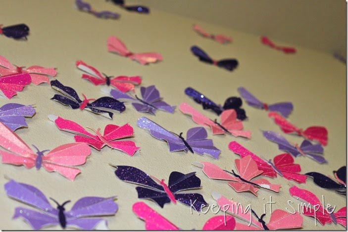 Little girl's room idea glitter paper butterflies (10)