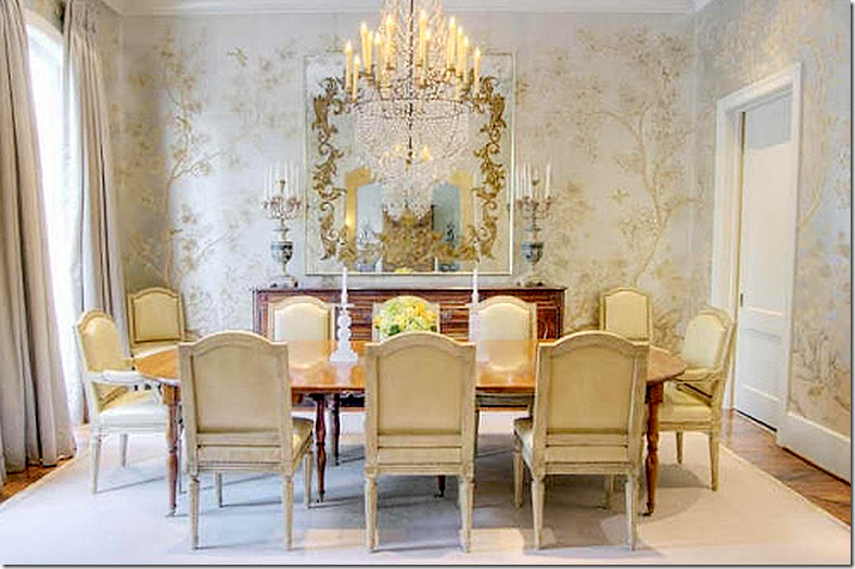 the houston dining room is so beautiful with handpainted wallpaper and a gorgeous chandelier - Veranda Dining Rooms