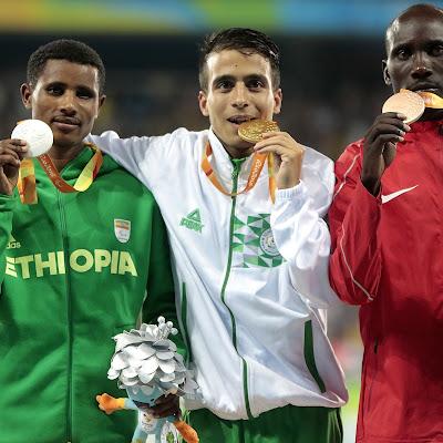 RESPECT AND AMAZEMENT Abdellatif Baka of Algeria won the T13 1500m final