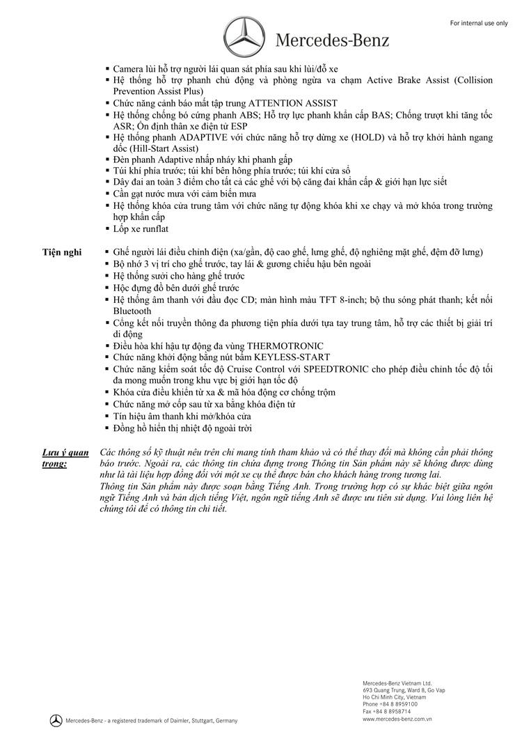 Thông số kỹ thuật xe Mercedes Benz CLA250 4MATIC New Model 02