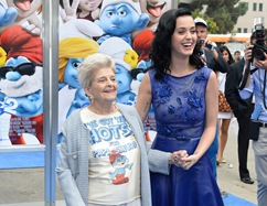 LOS ANGELES, CA - July 28, 2013:  Katy Perry with her grandmother at the Los Angeles Premiere of Columbia Pictures and Sony Pictures Animation's SMURFS 2 at the Westwood Village Theatre.