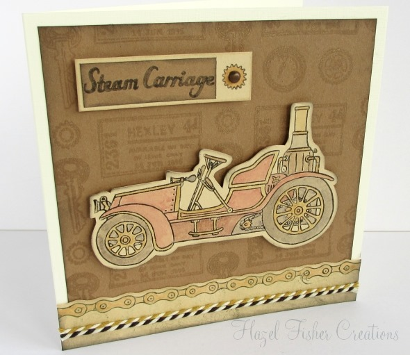 Steampunk steam carriage card made with stamps 2014Jan16
