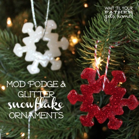 mod podge & glitter ornaments