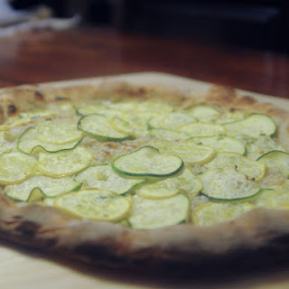 Summer Squash Pizza with Roasted Garlic and Crème Fraîche