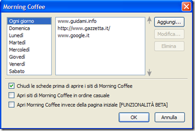 Morning Coffee aggiunta siti