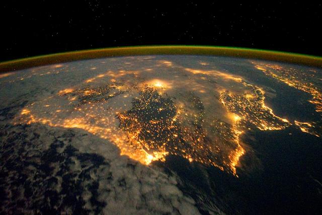 Contaminación lumínica en Europa occidental