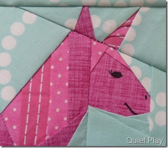 Paper Pieced Pink Unicorn face