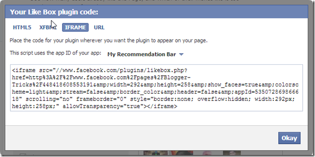Iframe Code Add Facebook like/fan Box To Blogger Blog
