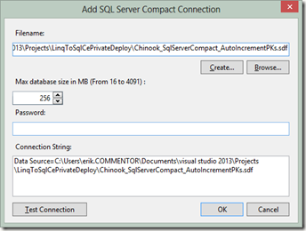SQL Server Compact 4 desktop app with simple Private