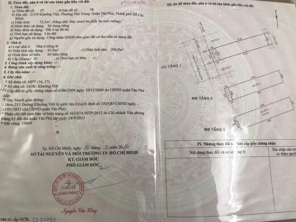 Bán nhà hẻm Khuông Việt Quận Tân Phú, diện tích 3,8m x 17,35m , 1 trệt 2 lầu, Giá 6.3 tỷ
