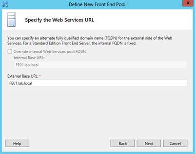 define new pool-specify the web services URL