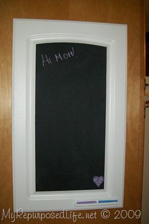 repurposed cupboard door chalkboard