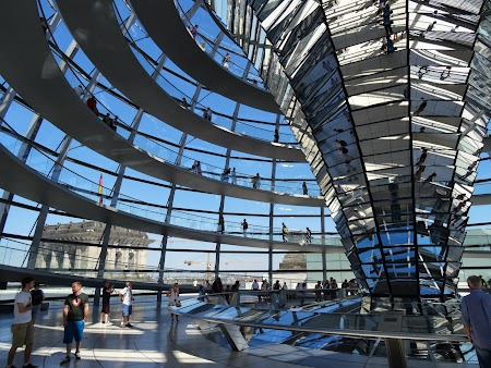 Obiective turistice Berlin: interiorul cupolei de la Bundestag