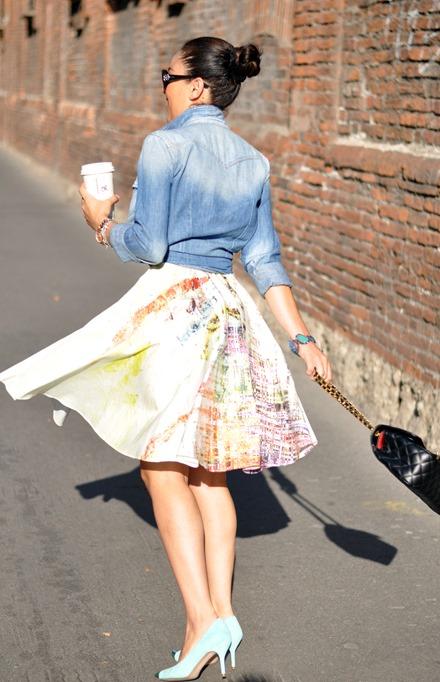 stefanel collezione 2013, zara summer 2013, zagufashion, outfit, gonna a ruota, vestito bon ton, shooting