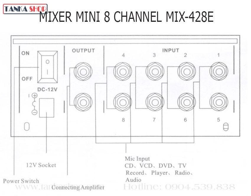 Bàn trộn âm thanh 8 cổng Mixer mini MIX-428E