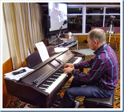 Our special guest artist, teacher and professional musician, Dave Hallam, playing the Club's Yamaha Clavinova CVP-509. Photo courtesy of Dennis Lyons.