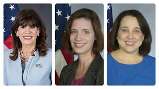 Bà Robin Bernstein, bà Roxanne Cabral và bà Jean Manes. Ủng hộ bà Thái Anh Văn, Mỹ rút quan chức khỏi các nước 'quay lưng' với Đài Loan?